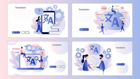 Translation concept. Online translator. Screen template for mobile smart phone, landing page, template, ui, web, mobile app, poster, banner, flyer. Modern flat cartoon style Vector