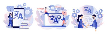 Translation concept. Online translator. Modern flat cartoon style. Vector illustration on white background