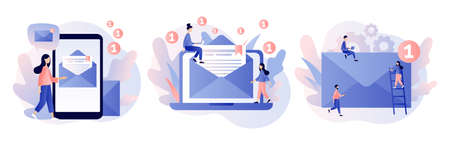 Email and messaging, Email service, Email marketing. Modern flat cartoon style. Vector illustration on white background