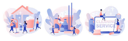 Cleaning service. Tiny people clean house. Professional hygiene service for domestic households. Set cleaning tool. Modern flat cartoon style. Vector illustration