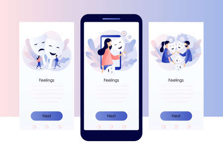 Masking true feelings concept. Human masquerade. Fake social identity and hiding inner personality traits. Screen template for mobile smart phone. Modern flat cartoon style. Vector