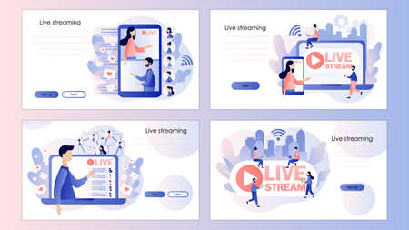 Live streaming. Online video chat. Screen template for mobile smart phone, landing page, template, ui, web, mobile app, poster, banner, flyer. Modern flat cartoon style Vector