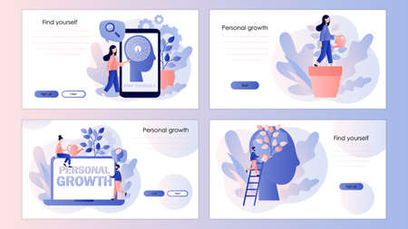 Personal growth, self-improvement, self development. Screen template for mobile smart phone, landing page, template, ui, web, mobile app, poster, banner, flyer. Modern flat cartoon style Vector illustration