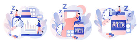 Tiny people suffers from insomnia in bedroom surrounded by alarm clock, sleeping pills, mask. Sleep control. Stress, depression and sleeping problems. Modern flat cartoon style. Vector 向量圖像