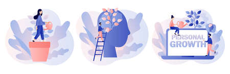 Personal growth concept. Metaphor growth personality as plant. Tiny people that self-improvement, self development, professional growth. Modern flat cartoon style. Vector