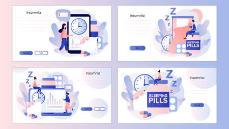 Tiny people suffers from insomnia. Sleep control. Screen template for mobile smart phone, landing page, template, ui, web, mobile app, poster, banner, flyer. Modern flat cartoon style. Vector illustration