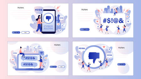 Haters online. Cyberbullying, bullying internet, trolling and hate speech. Screen template for mobile smart phone, landing page, template, ui, web, mobile app, poster, banner, flyer Vector illustration Illustration