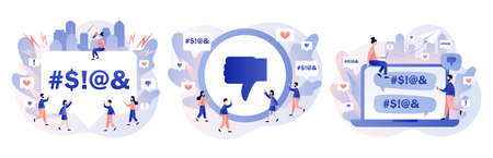 Haters online. Cyberbullying, bullying internet, trolling and hate speech. Tiny people put dislikes and write negative comments. Modern flat cartoon style. Vector illustration 矢量图像