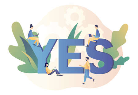 Yes concept. Decision making. Tiny People with uppercase letters. Modern flat cartoon style. Vector illustration