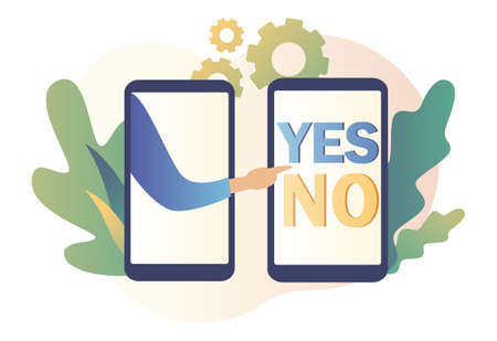 Yes or no concept. Decision making. Modern flat cartoon style. Vector illustration