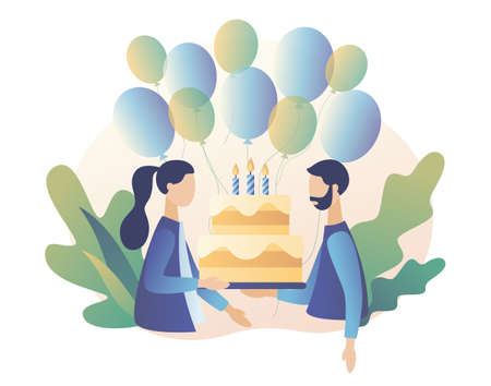 Happy birthday concept. Guy and girl with birthday cake. Modern flat cartoon style. Vector illustration
