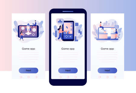 Retro game app. Tiny people playing video game, tetris, classic platformer using laptop, smarthphone and tablets. Screen template for mobile smart phone. Modern flat cartoon style. Vector Ilustración de vector