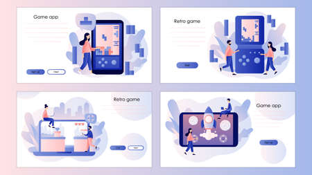 Retro game app. Tiny people playing video game using laptop, smarthphone and tablets. Screen template for mobile smart phone, landing page, template, ui, web, mobile app, poster, banner, flyer. Vector illustration