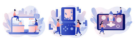 Retro game app. Tiny people playing video game, tetris, classic platformer using laptop, smarthphone and tablets. Modern flat cartoon style. Vector illustration