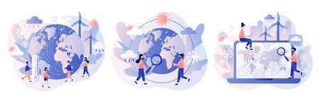Meteorology science. World Meteorological day. Tiny people meteorologists studying and researching weather and climate condition. Modern flat cartoon style. Vector illustration