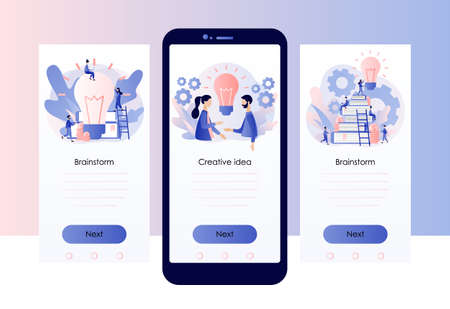 Creative business idea, content development, brainstorming concept. Screen template for mobile smart phone. Modern flat cartoon style. Vector illustration on white background Ilustracja