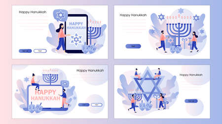 Happy Hanukkah. Traditional jewish holiday with tiny people. Screen template for mobile smart phone, landing page, template, ui, web, mobile app, poster, banner, flyer. Vector illustration
