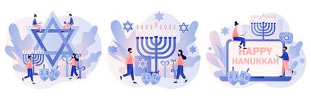 Happy Hanukkah. Traditional jewish holiday with tiny people and symbols - menorah candles, dreidels spinning top, star David. Modern flat cartoon style. Vector illustration