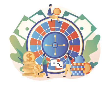 Casino and Gambling Concept. Tiny people gaming gambling games. People play Roulette. Modern flat cartoon style. Vector illustration on white background 矢量图像