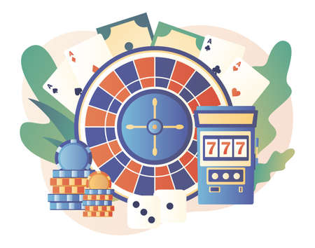 Casino and Gambling Concept. Poker, Roulette, Slot Machine. Modern flat cartoon style. Vector illustration on white background