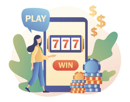 Internet Casino and Gambling Concept. Tiny girl gaming online games on smartphone. People play online Slot Machine. Modern flat cartoon style. Vector illustration on white background