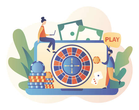 Internet Casino and Gambling Concept. Tiny people gaming online gambling games. People play online Roulette. Modern flat cartoon style. Vector illustration on white background 矢量图像