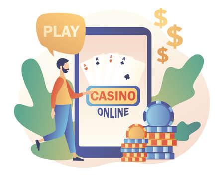 Internet Casino and Gambling Concept. Tiny man gaming online games on smartphone. People play online Poker. Modern flat cartoon style. Vector illustration on white background