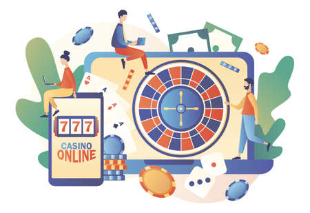 Internet Casino and Gambling Concept. Tiny people gaming online gambling games. People play online Poker, Roulette, Slot Machine. Modern flat cartoon style. Vector illustration on white background