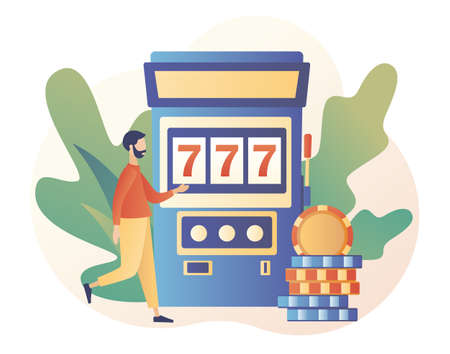 Casino and Gambling Concept. Tiny man gaming gambling games. People play Slot Machine. Modern flat cartoon style. Vector illustration on white background