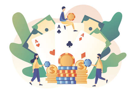 Casino and Gambling Concept. Tiny people gaming gambling games and bet. People play Poker. Poker Cards. Modern flat cartoon style. Vector illustration on white background 矢量图像
