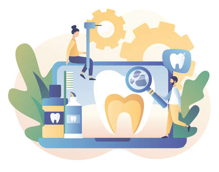 Dental clinic concept. Stomatology and orthodontics medical center. Dental care. Teeth treatment, protect and cleaning teeth. Modern flat cartoon style. Vector illustration on white background Illustration