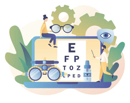 Ophthalmology concept. Eye check up. Ophthalmologist checks patient sight. Modern flat cartoon style. Vector illustration Vektorgrafik