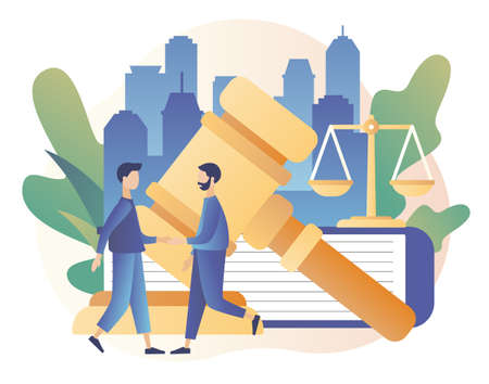 Law and Justice Concept. Justice scales, judge building and judge gavel. Tiny men make a deal. Supreme court. Modern flat cartoon style. Vector illustration on white background
