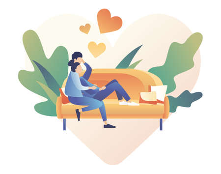Loving couple spending time or relaxing together. Man and woman sit on the sofa in the home atmosphere. Romantic date concept. Characters Valentine day. Modern flat cartoon style. Vector illustration on white background