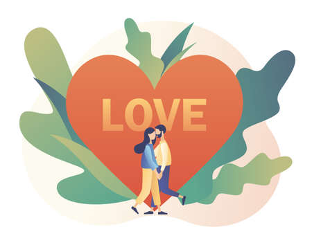 Loving couple hugging. Tiny people with big heart. Romantic date concept. Characters Valentine day. Modern flat cartoon style. Vector illustration