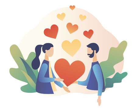 Loving couple holding heart in hands.. Romantic date concept. Characters Valentine day. Modern flat cartoon style. Vector illustration 向量圖像