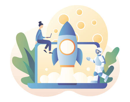 Lunar mission space exploration. Tiny people launches a rocket in space. Spaceship travel to moon. Rocket flying around Moon orbit. Astronauts in space. Modern flat cartoon style. Vector illustration on white background Ilustração