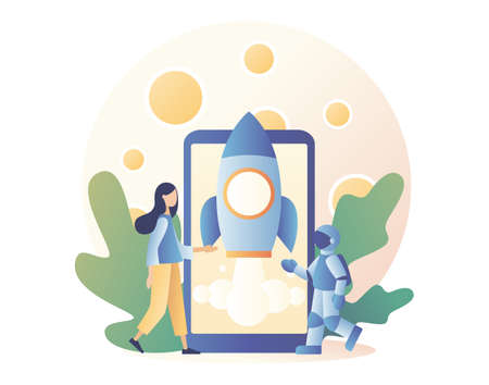 Lunar mission space exploration. Tiny girl launches a rocket from a smartphone in space. Spaceship travel to moon. Modern flat cartoon style. Vector illustration on white background