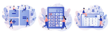 Calculator app. Tiny people with calculating. Accounting, financial analytics, bookkeeping, budget calculation, audit debit and credit calculations. Modern flat cartoon style. Vector illustration on white background
