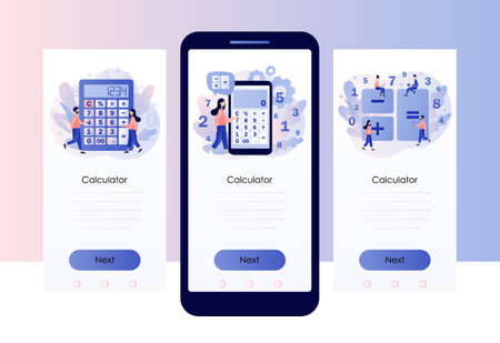 Calculator app. Tiny people with calculating. Accounting, financial analytics, bookkeeping, budget calculation. Screen template for mobile smart phone. Modern flat cartoon style. Vector illustration on white background