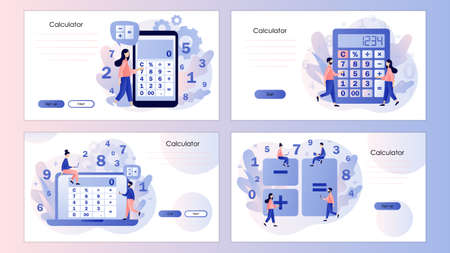 Calculator app. Tiny people with calculating. Screen template for mobile smart phone, landing page, template, ui, web, mobile app, poster, banner, flyer Vector illustration