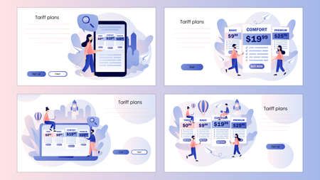 Tariff plans. Tiny people choose their plan type. Price list options plans. Screen template for mobile smart phone, landing page, template, ui, web, mobile app, poster, banner, flyer. Vector illustration