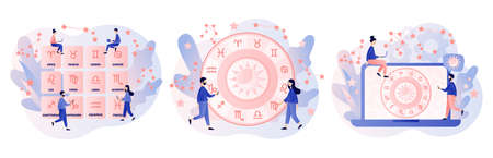 Astrology science concept. Astrological forecast. Zodiac, celestial coordinate system, stars and constellations. Tiny people astrologers reading natal chart. Modern flat cartoon style. Vector illustration
