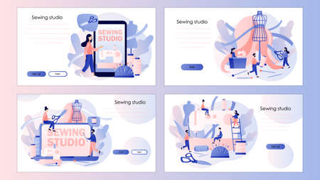 Sewing studio concept. Tiny people tailors create outfit and apparel. Screen template for mobile smart phone, landing page, template, ui, web, mobile app, poster, banner, flyer. Vector illustration on white background