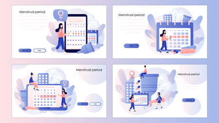 Menstruation cycle. Tiny women with monthly calendar and feminine hygiene products. Screen template for mobile smart phone, landing page, template, ui, web, mobile app, poster, banner, flyer. Vector illustration