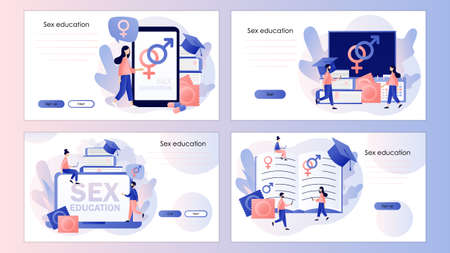 Sexual education concept. Sexual health lesson. Contraception and reproduction system. Screen template for mobile smart phone, landing page, template, ui,web, mobile app, poster, banner, flyer. Vector illustration