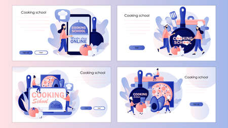 Cooking school. Culinary master class online. Tiny chef with kitchen tools and foods. Screen template for mobile smart phone, landing page, template, ui, web, mobile app, poster, banner, flyer. Vector illustration Vecteurs