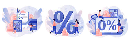 Bank credit concept. Percent, good interest rate, interest-free. Finance management. Tiny people signing loan agreement. Modern flat cartoon style. Vector illustration