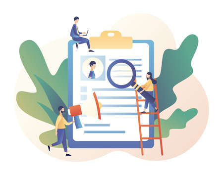 Job hiring and job search concept. Headhunting. We are Hiring. Tiny people interviewed for job. Modern flat cartoon style. Vector illustration