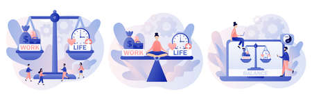 Work and life balance. Tiny people keep harmony choose between career and money versus love and time, leisure or business. Modern flat cartoon style. Vector illustration